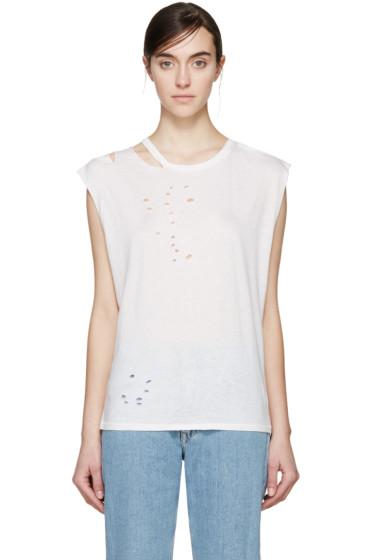R13 - Ecru Ripped T-Shirt