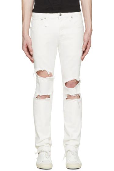 R13 - White Shredded Skate Jeans
