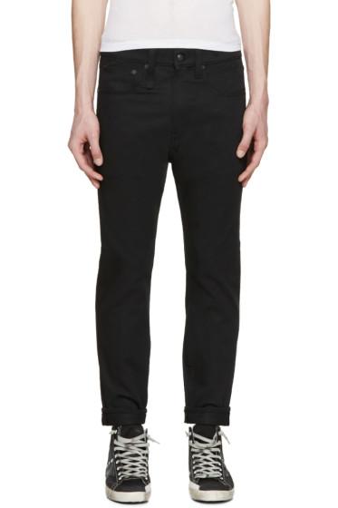R13 - Black Raw Drop Jeans