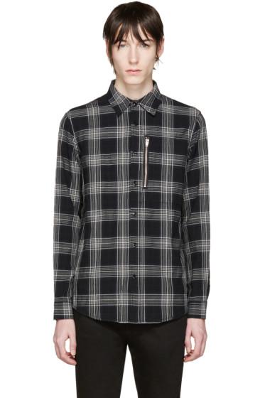 R13 - Black Plaid Zip Shirt