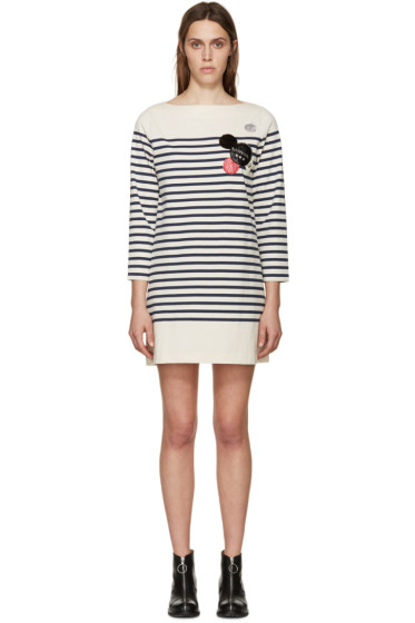 Marc by Marc Jacobs - Cream & Navy Striped Embellishment Dress