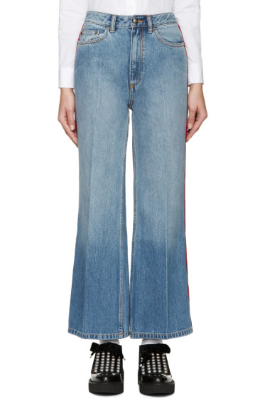 Marc by Marc Jacobs - Blue & Red High-Wasted Flared Jeans