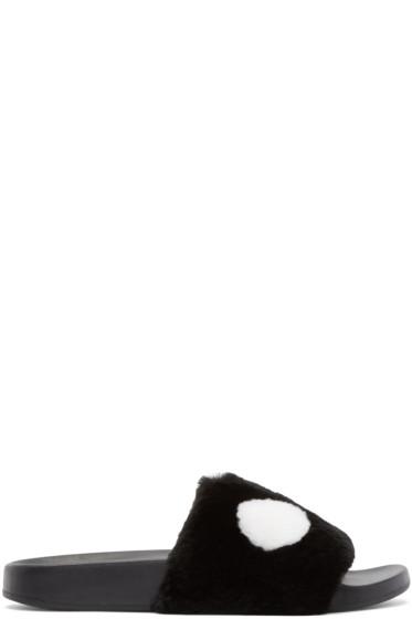 Marc by Marc Jacobs - Black Rabbit Fur Dot Sandals