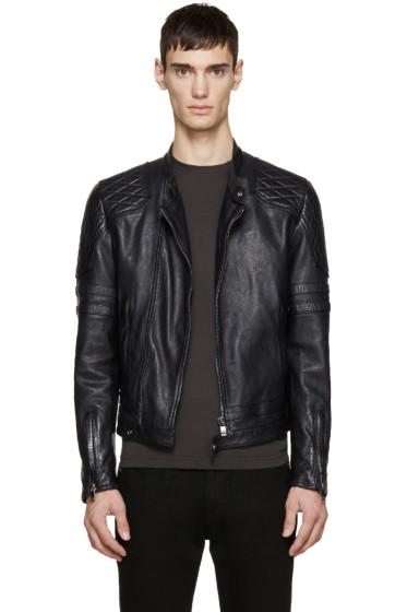 Diesel Black Gold - Navy Leather Biker Jacket