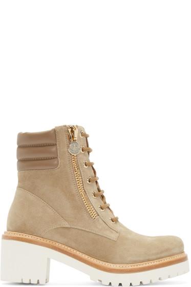 Moncler - Beige Suede Viviane Boots