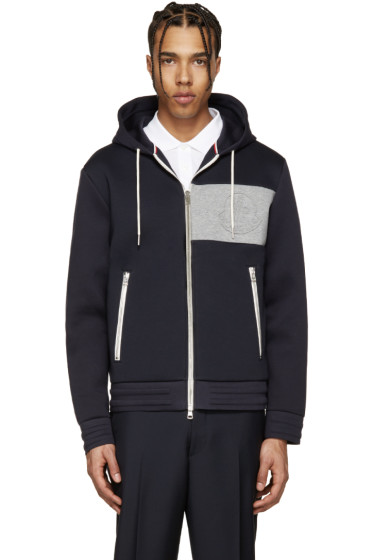 Moncler - Navy Neoprene Zip-Up Hoodie