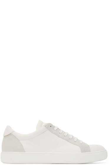 Moncler - White Leather & Suede Sneakers