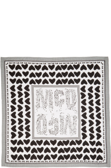 McQ Alexander Mcqueen - Ivory & Black Hearts & Bolts Scarf