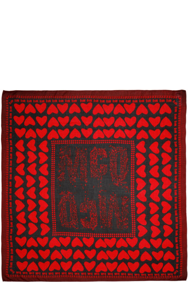 McQ Alexander Mcqueen - Red Hearts & Bolts Scarf