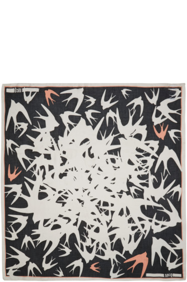 McQ Alexander Mcqueen - Black & White Swallow Storm Scarf