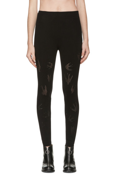 McQ Alexander Mcqueen - Black Mesh Swallow Leggings