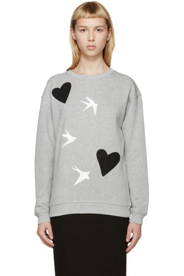McQ Alexander Mcqueen - Grey Beaded Heart & Swallow Sweatshirt