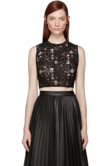McQ Alexander Mcqueen - Black Lace Cropped Top