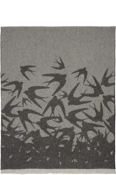 McQ Alexander Mcqueen - Grey & Black Wool Swallow Scarf