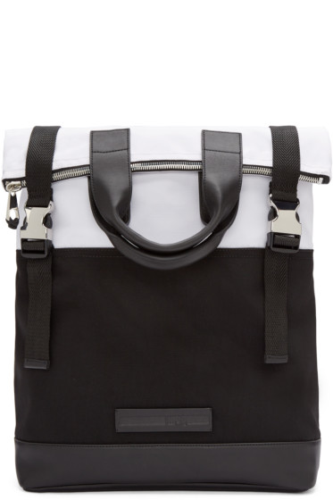 McQ Alexander Mcqueen - Black & White Fold Tote Backpack