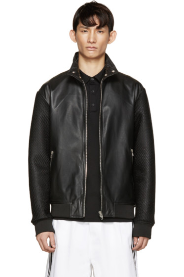 McQ Alexander Mcqueen - Black Lambskin & Mesh Jacket