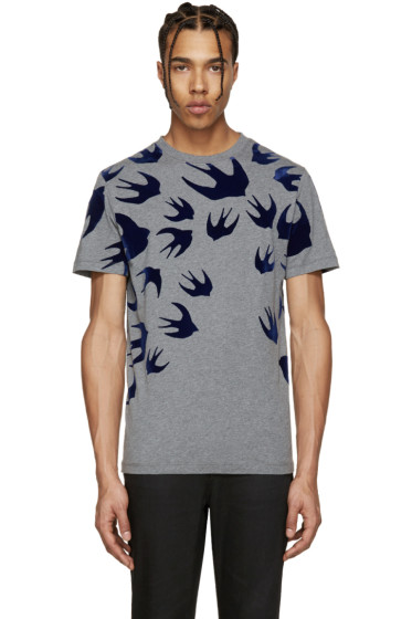 McQ Alexander Mcqueen - Grey & Navy Swallow T-Shirt