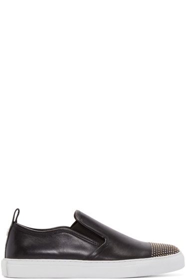 McQ Alexander Mcqueen - Black Leather Studded Slip-On Sneakers
