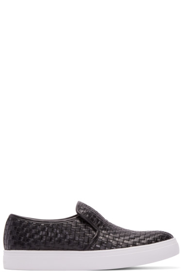 Tiger of Sweden - Black Woven Leather Yngve Slip-On Sneakers
