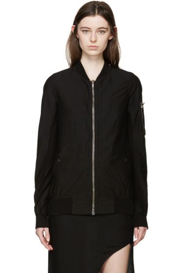Rick Owens Drkshdw - Black Woven Flight Jacket