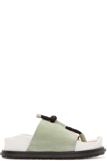 Acne Studios - Green & Black Suede Anum Sandals