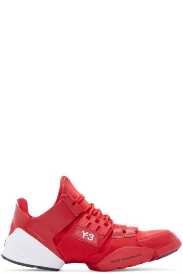 Y-3 - Red Leather & Mesh Kanja Sneakers