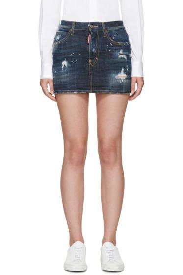 Dsquared2 - Indigo Distressed Denim Miniskirt