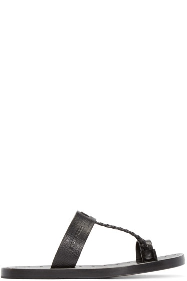 Dsquared2 - Black Leather Braided Sandals