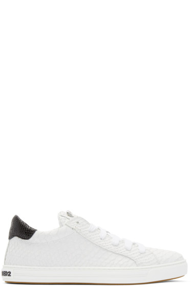 Dsquared2 - White Snake-Embossed Sneakers