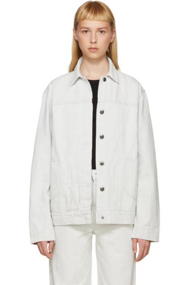 Helmut Lang - Off-White Denim Oversized Destroy Jacket