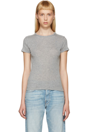 Helmut Lang - Grey Cotton & Cashmere T-Shirt
