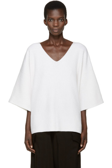 Helmut Lang - White Cashmere Knit Sweater