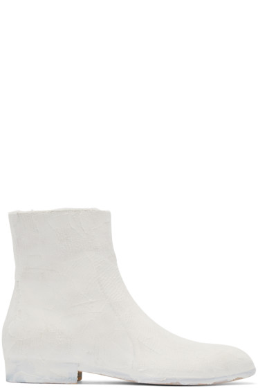 Maison Margiela - White Chalk Effect Boots