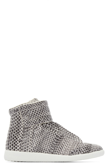 Maison Margiela - Black & White Snakeskin Future High-Top Sneakers