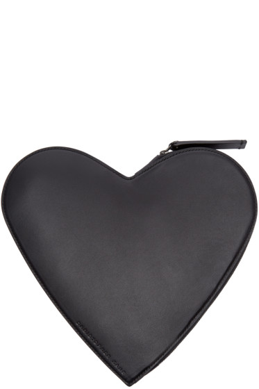 Christopher Kane - Black Leather Heart-Shaped Clutch