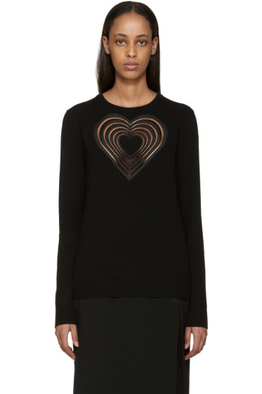 Christopher Kane - Black Wool Love Heart Sweater