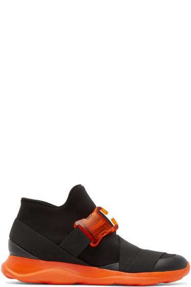 Christopher Kane - Black Neoprene Buckle High-Top Sneakers