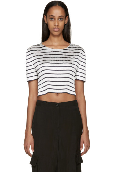 Alexander Wang - White & Navy Pleated Blouse