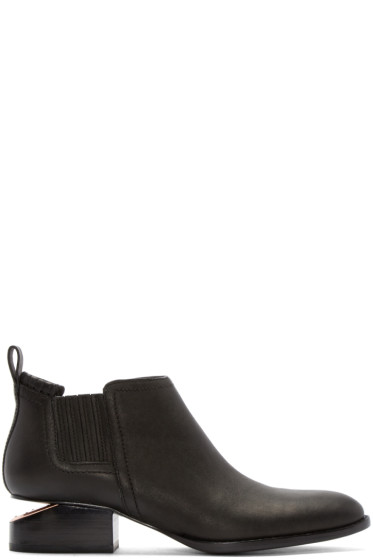 Alexander Wang - Black Notched Heel Kori Ankle Boots