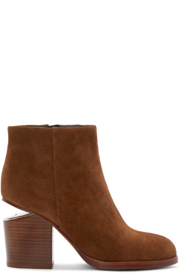 Alexander Wang - Brown Notched Heel Gabi Ankle Boots