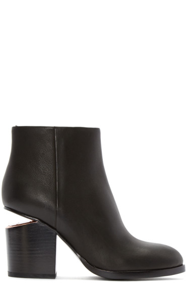 Alexander Wang - Black Notched Heel Gabi Ankle Boots