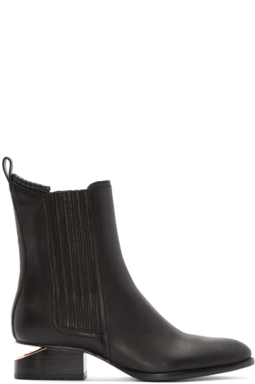 Alexander Wang - Black Notched Heel Anouck Ankle Boots