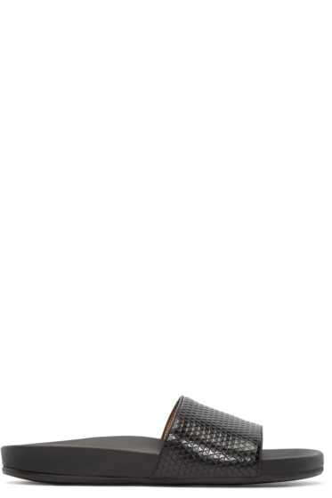 Marc Jacobs - Black Leather Slip-On Sandals