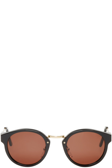 Super - Black & Gold Round Panamá Sunglasses