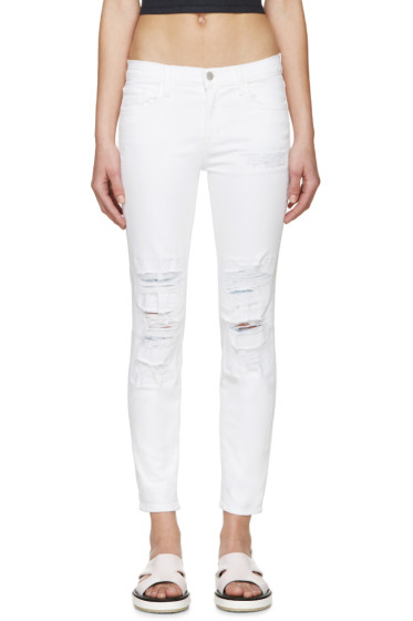 J Brand - White Distressed Capri Jeans