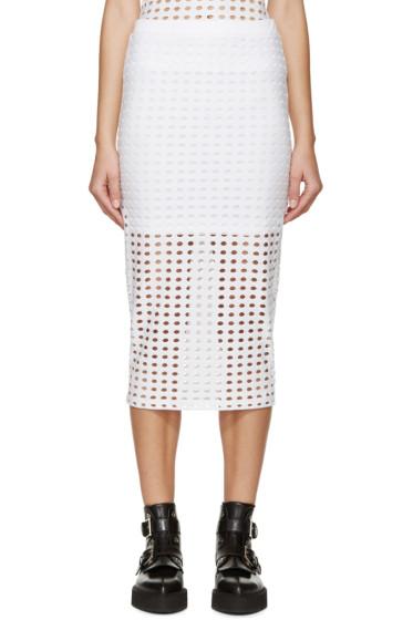 T by Alexander Wang - White Laser-Cut Skirt
