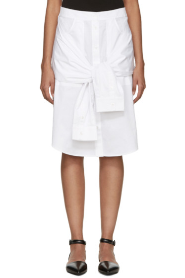 T by Alexander Wang - White Poplin Shirttail Skirt