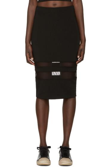 T by Alexander Wang - Black Lux Ponte Mesh-Striped Pencil Skirt