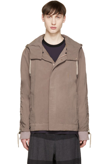 Robert Geller - Brown Nylon Hooded Jacket