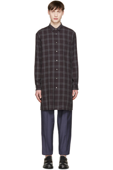 Robert Geller - Black Long Check Shirt